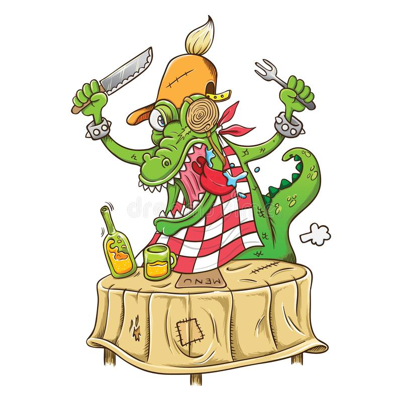 Illustration of cartoon hungry crocodile. Easy to change color and separately stock illustration