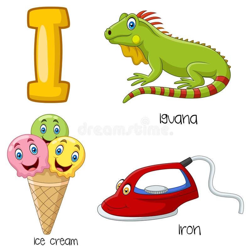 Cartoon I alphabet. Illustration of Cartoon I alphabet vector illustration