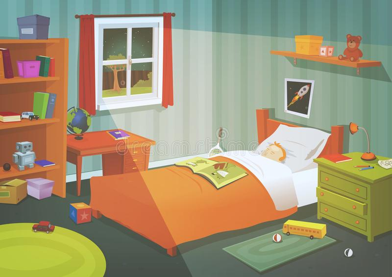 Kid Or Teenager Bedroom In The Moonlight. Illustration of a cartoon kid or teenager bedroom with boy sleeping in the night, containing lifestyle elements, toys royalty free illustration