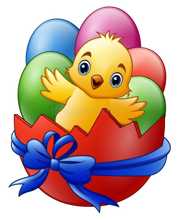 Cartoon little baby chicken with colored eggs in the red broken eggshell royalty free illustration
