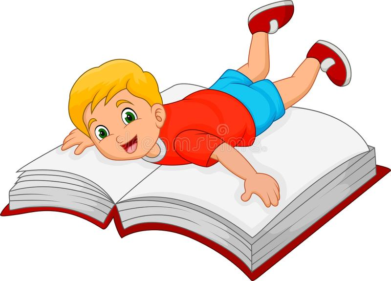 Cartoon little boy with big book stock illustration