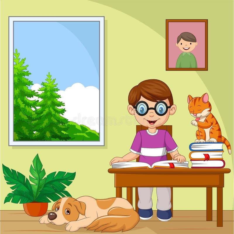 Cartoon little boy studying in the room. Illustration of Cartoon little boy studying in the room stock illustration