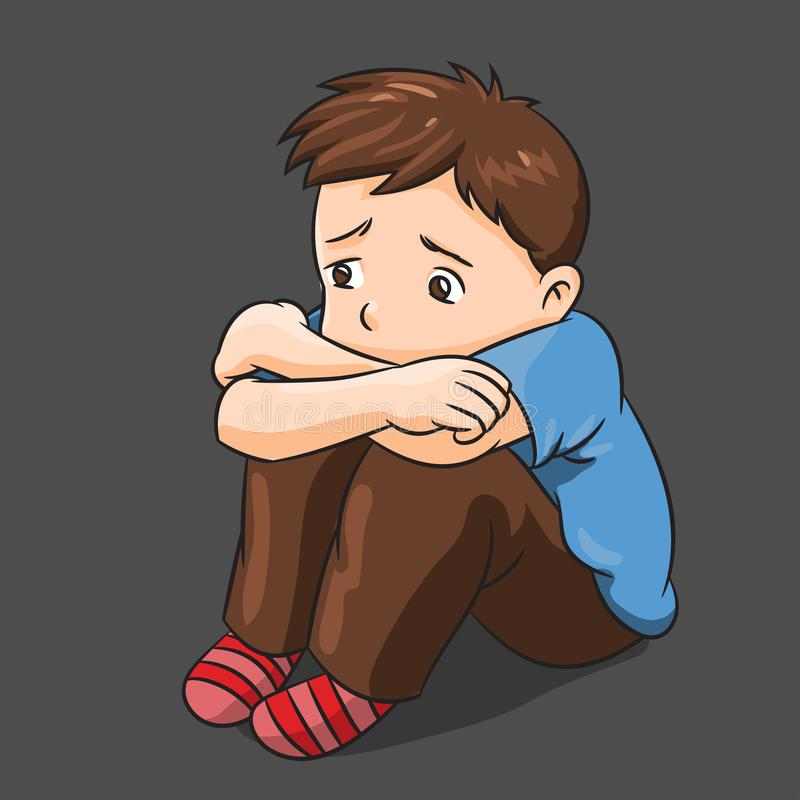 Cartoon Lonely Boy - Vector Illustration. Illustration of Cartoon Lonely Boy - Vector Illustration royalty free illustration