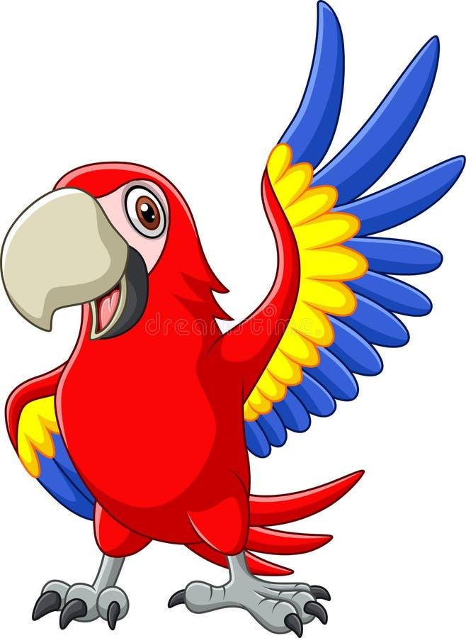 Cartoon macaw waving stock illustration