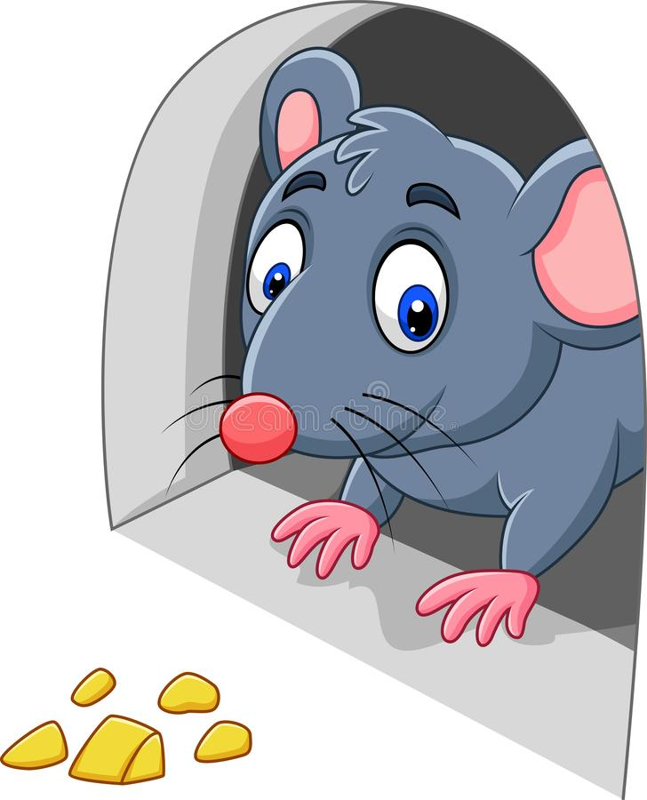 Cartoon Mouse and Cheese in the hole vector illustration