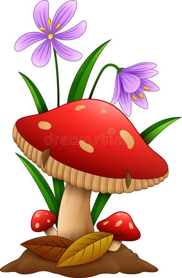 Cartoon mushroom isolated white background vector illustration