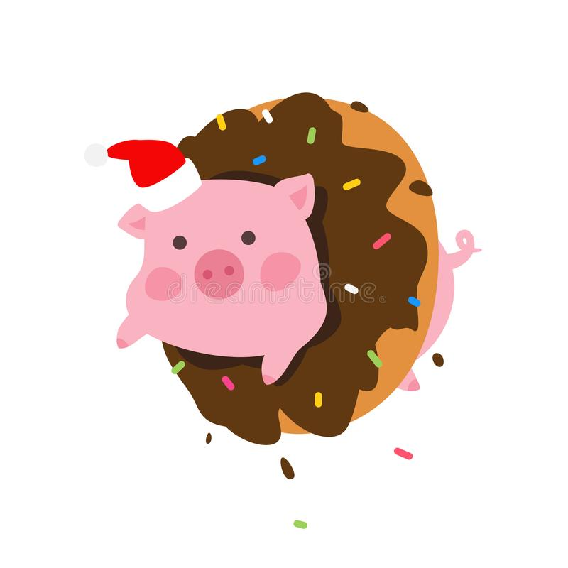 Illustration of a cartoon pig in a donut. Vector. Pork in Santa Claus cap looks out of a donut. New Year's mascot. Character vector illustration