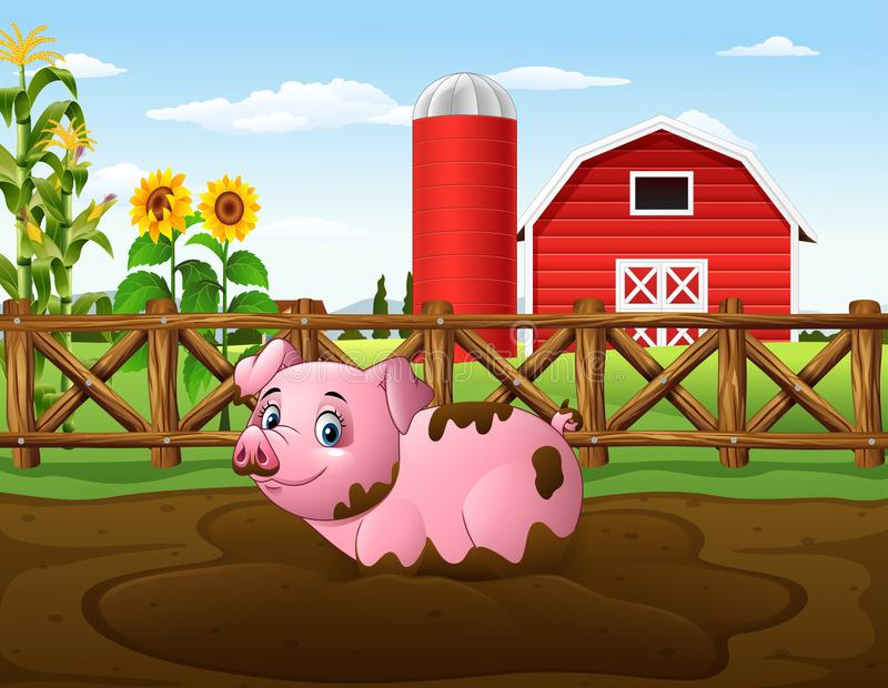 Cartoon pig playing a mud puddle in the farm stock illustration