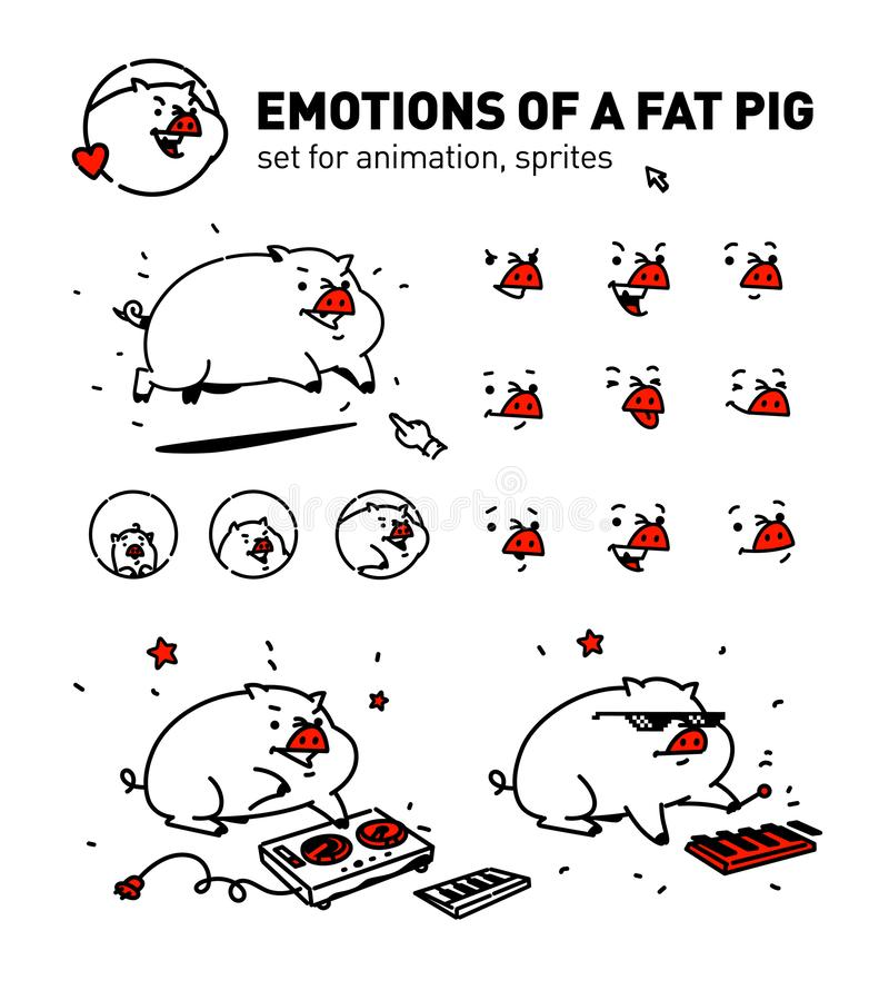 Illustration of a cartoon pig. Vector. Flat outline style. For true connoisseurs of animation. Musical pork. A set of emotions for. A face. Corporate character stock illustration