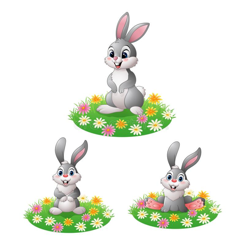 Cartoon rabbit on the grass collections set vector illustration