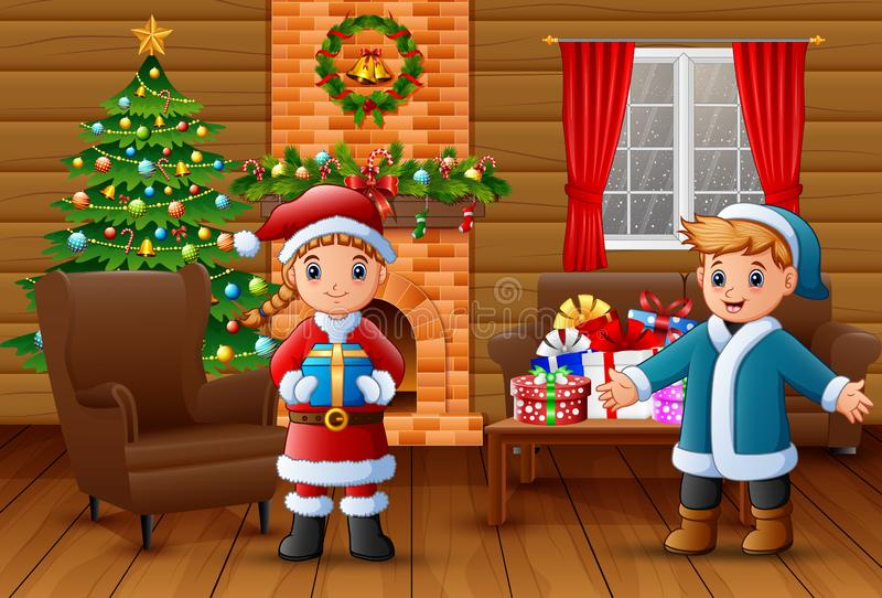 Cartoon of Santa holding a gift box and a boy in the living room stock illustration