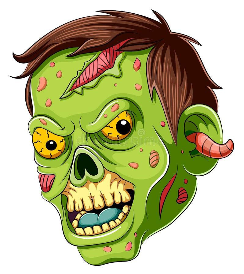 Cartoon scary zombie Face on white background royalty free stock photos