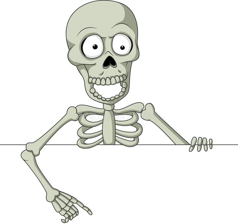 Cartoon skeleton holding blank sign stock illustration