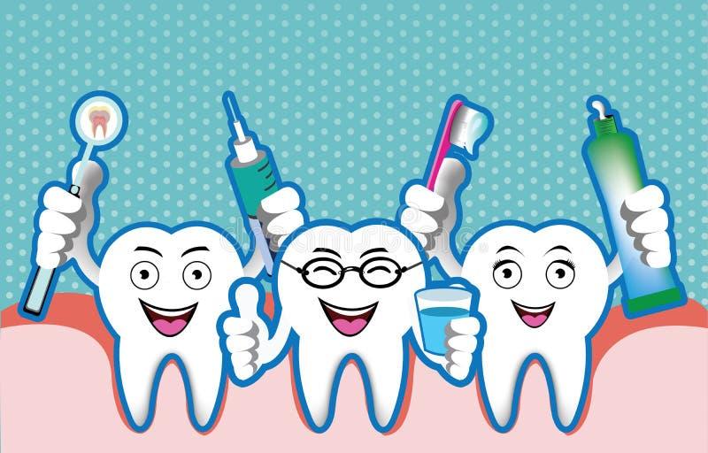 Illustration of cartoon smiling tooth royalty free illustration