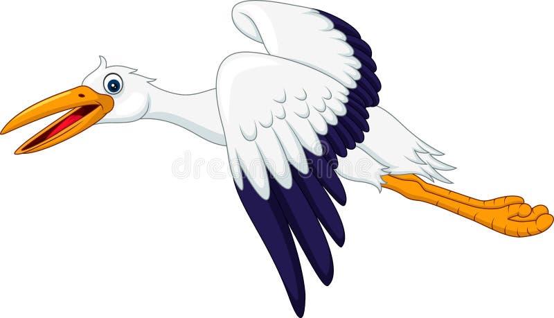 Cartoon stork flying isolated on white background royalty free illustration
