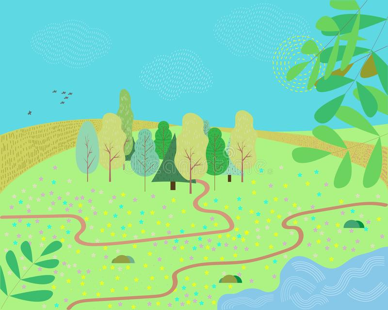 Illustration of a cartoon summer or spring season country landscape, with road trail leading towards horizon. vector illustration