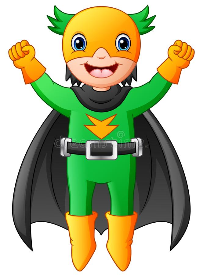 Cartoon superhero boy flying stock illustration