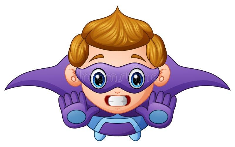 Cartoon superhero boy flying royalty free illustration