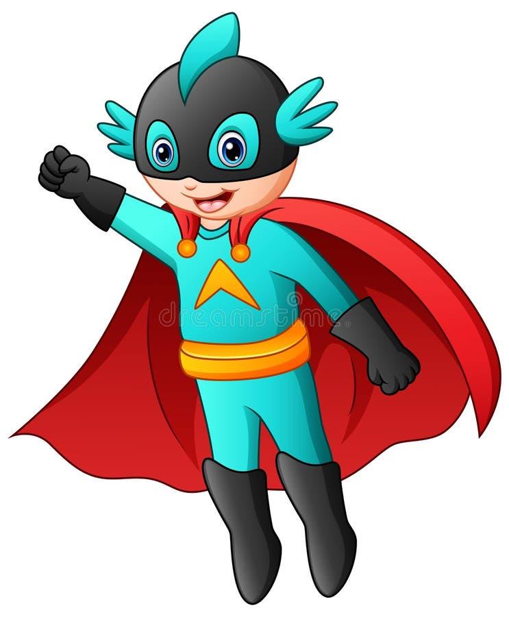 Cartoon superhero boy flying vector illustration