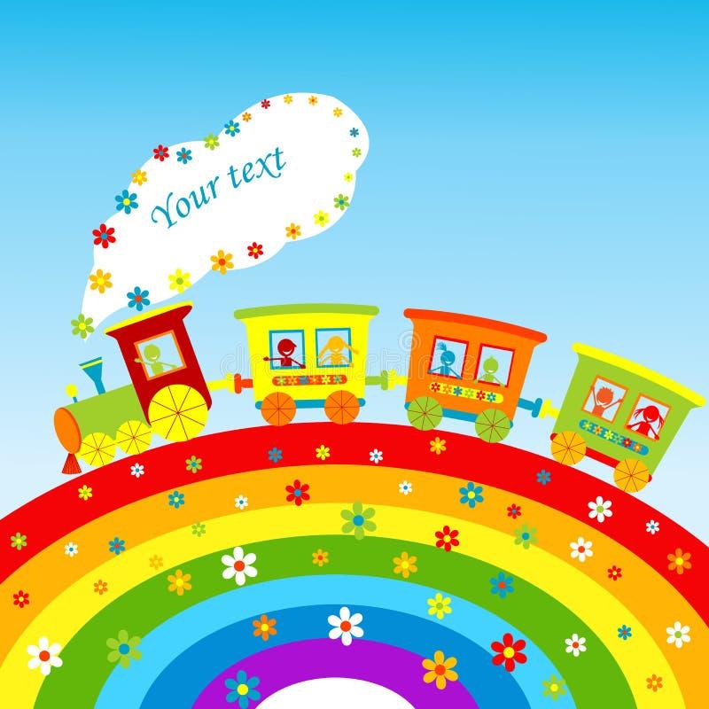 Illustration with cartoon train rainbow royalty free illustration