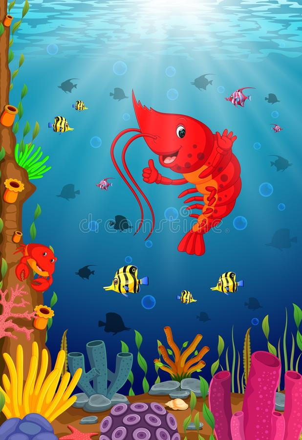 Cartoon tropical lobster with beautiful underwater world vector illustration