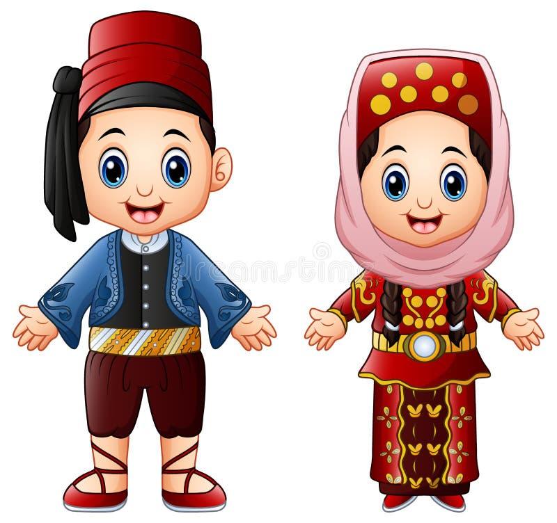 Cartoon Turkish couple wearing traditional costumes vector illustration