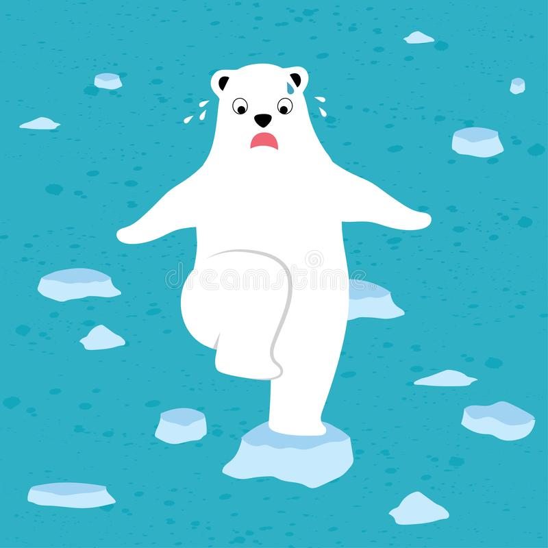 Polar bear stands on melting ice sheet because of the global warming. Illustration cartoon vector of a polar bear stands on melting ice sheet because of the vector illustration