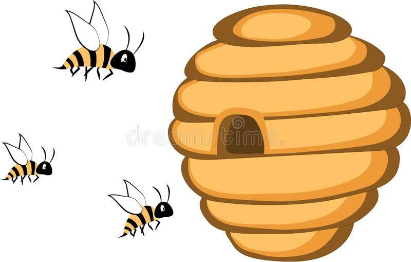 An illustration of cartoon wild beehive with bees. Isolated on white background stock illustration
