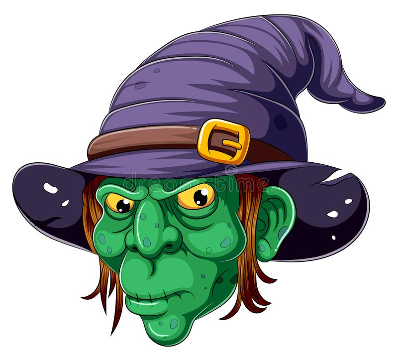 Cartoon witch face on white background stock images