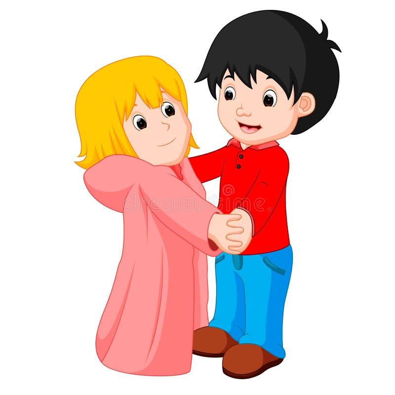 Cartoon young boy and girl dancing. Illustration of cartoon young boy and girl dancing royalty free illustration