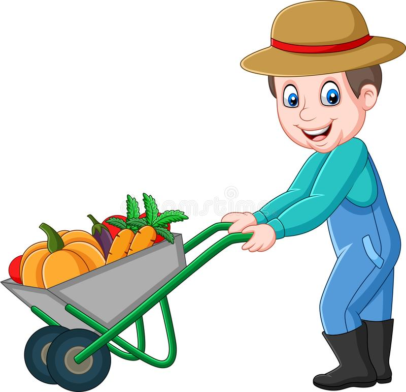 Cartoon young farmer pushing a wheelbarrow full of vegetables stock illustration