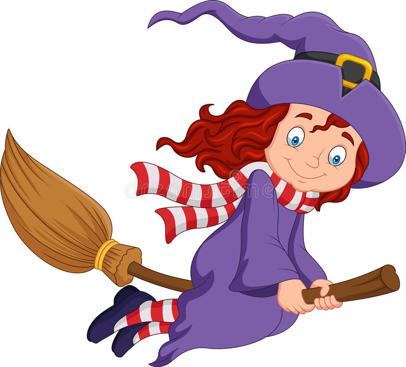Cartoon young witch flying with a broom stock illustration
