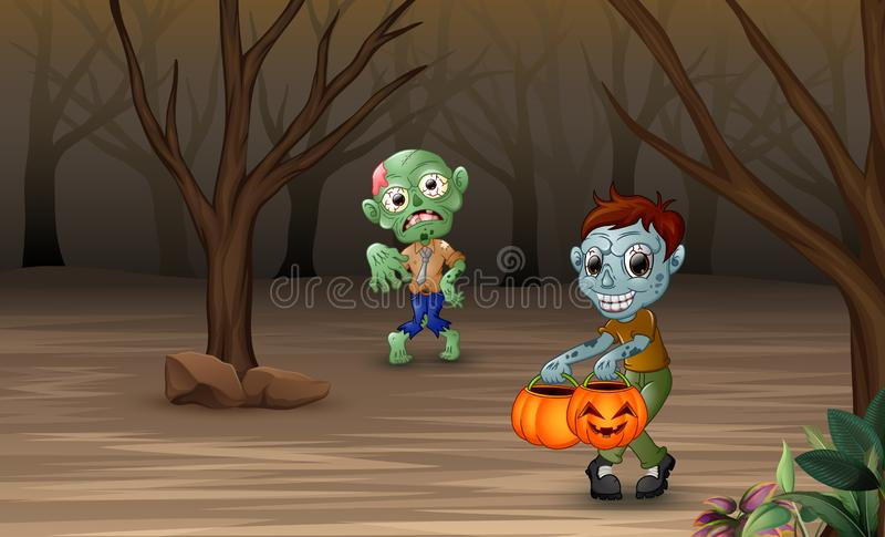Cartoon zombies walking in the dead forest vector illustration