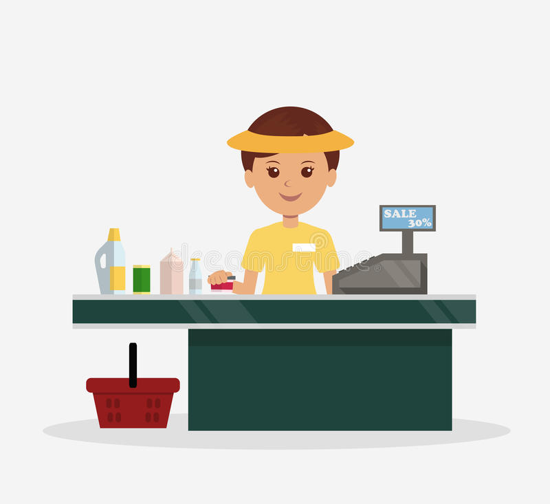 Illustration Of The Cashier Behind The Counter Stock ...