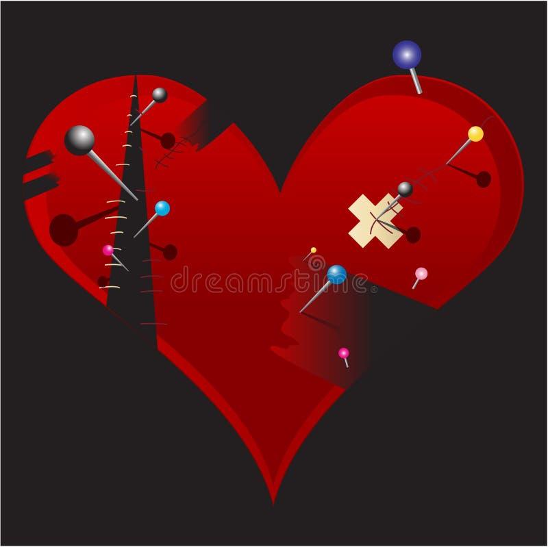 Illustration cassée de coeur d'Emo illustration de vecteur