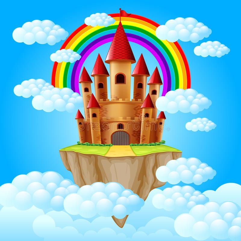 The castle above a cloud. Illustration of the castle above a cloud vector illustration