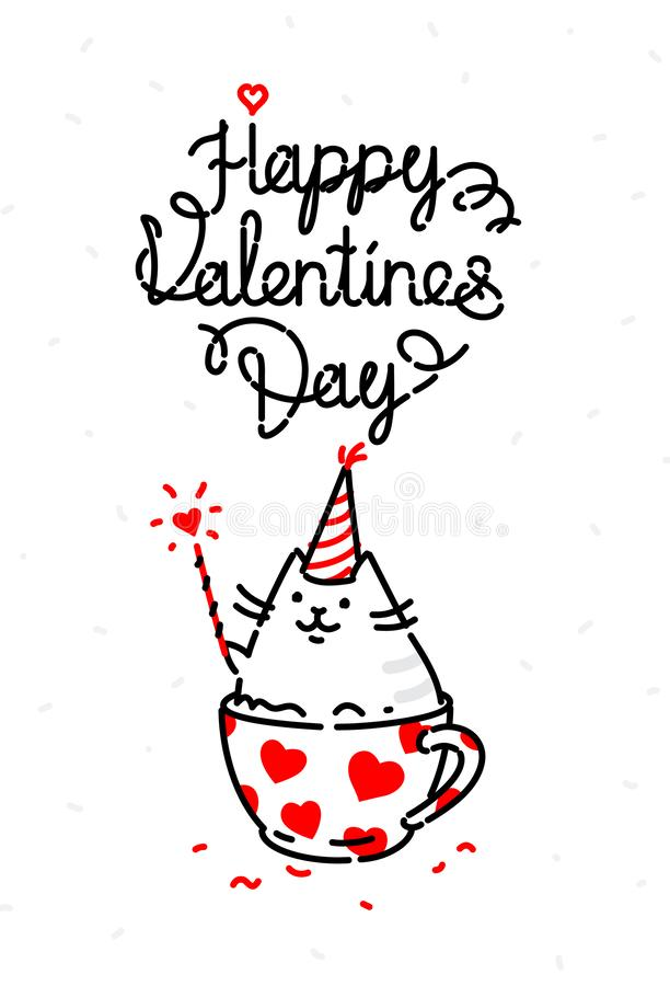 Illustration of a cat on a valentines day holiday. Image is isolated on a white background for printing, banner, website. stock illustration