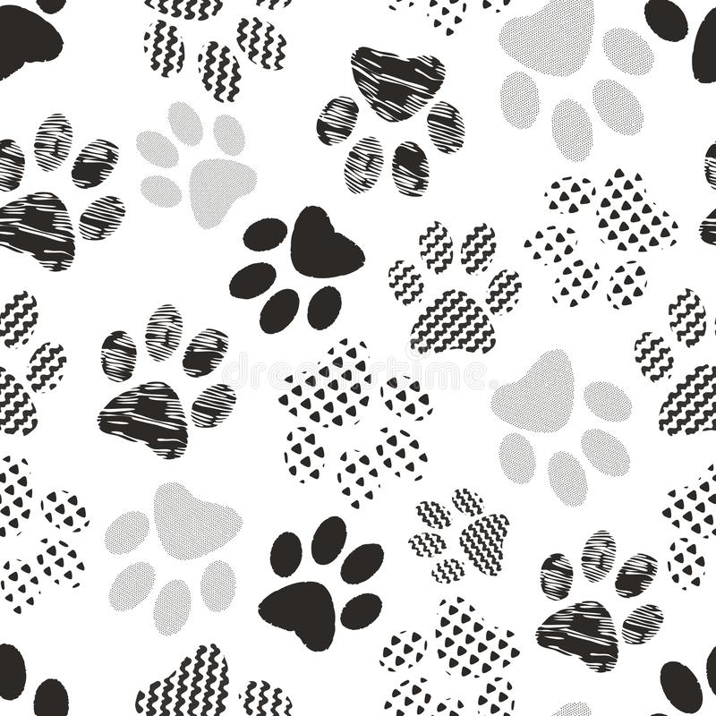 Seamless pattern with animal paw prints. Complex illustration print in black and white. stock image