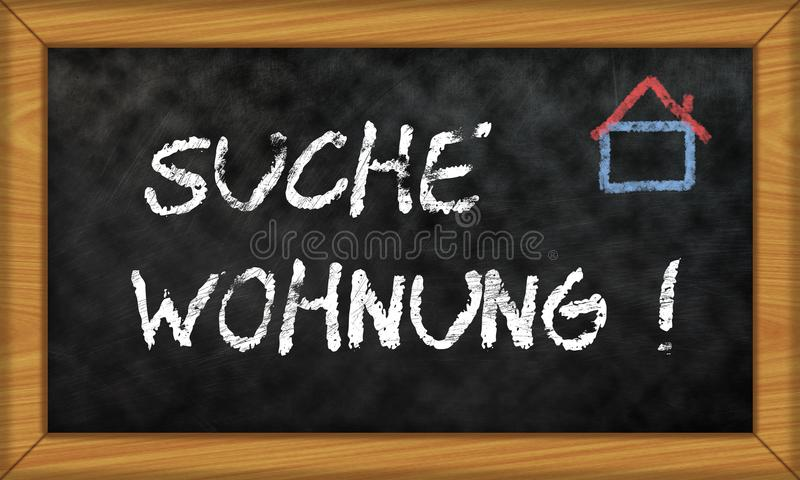 Chalk board with german phrase for apartment search royalty free stock images