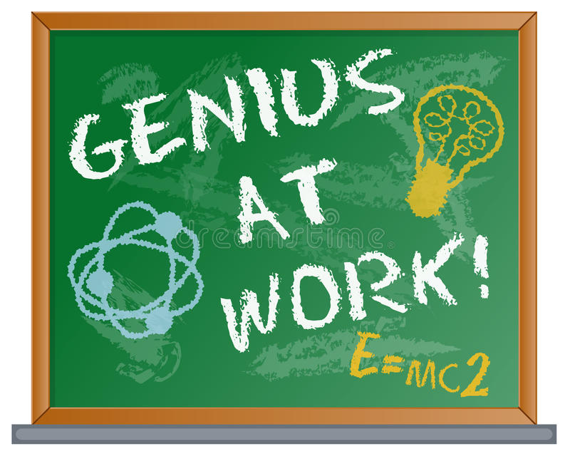 Genius at Work. Illustration of a chalkboard with a Genius at Work message written in chalk stock illustration