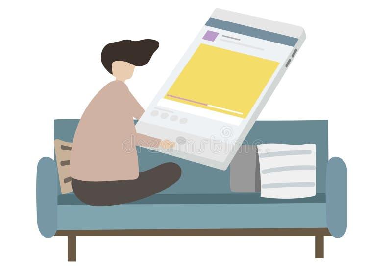Illustration of character surfing the internet vector illustration