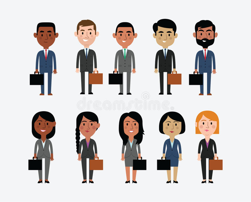 Illustration Of Characters Depicting Business Occupations stock illustration