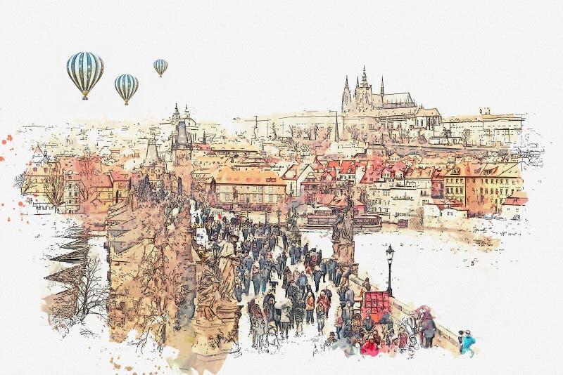 Illustration Charles Bridge i Prague i Tjeckien vektor illustrationer