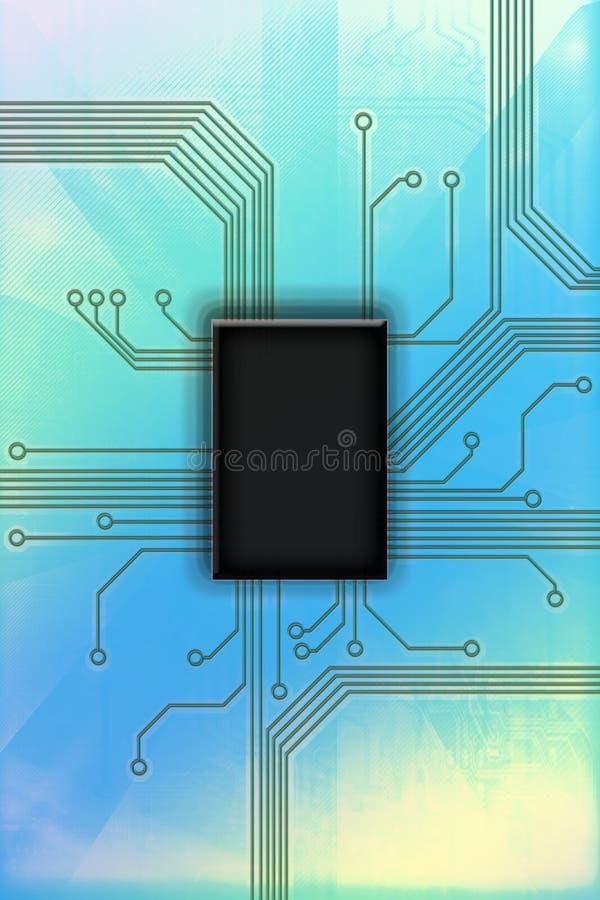 Illustration chaude de technologie de circuit de puce photographie stock