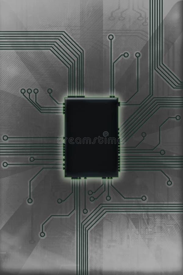 Illustration chaude de technologie de circuit de puce photographie stock libre de droits