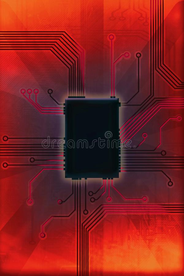 Illustration chaude de technologie de circuit de puce image libre de droits