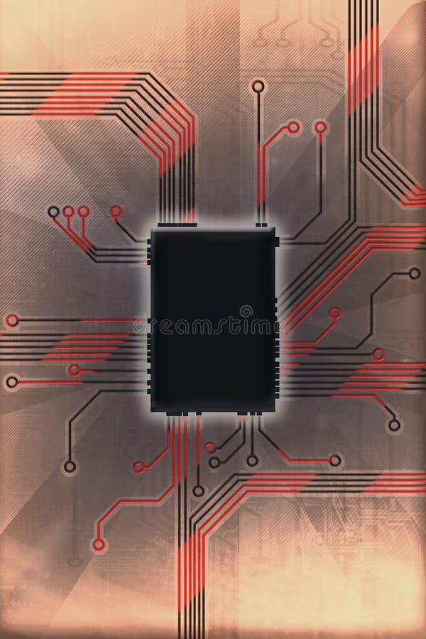 Illustration chaude de technologie de circuit de puce images libres de droits