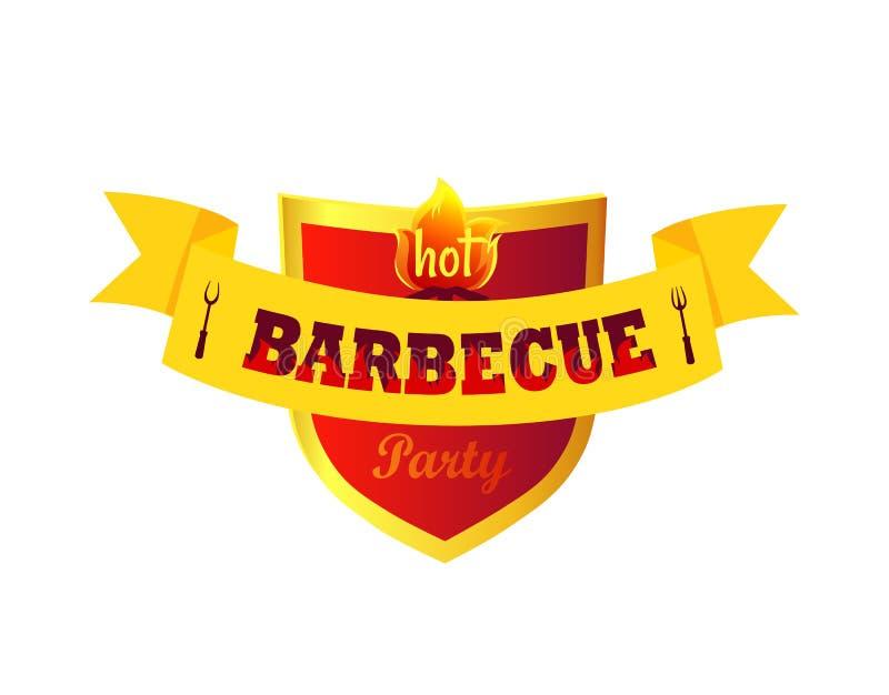 Illustration chaude de vecteur de plan rapproché de partie de barbecue illustration stock