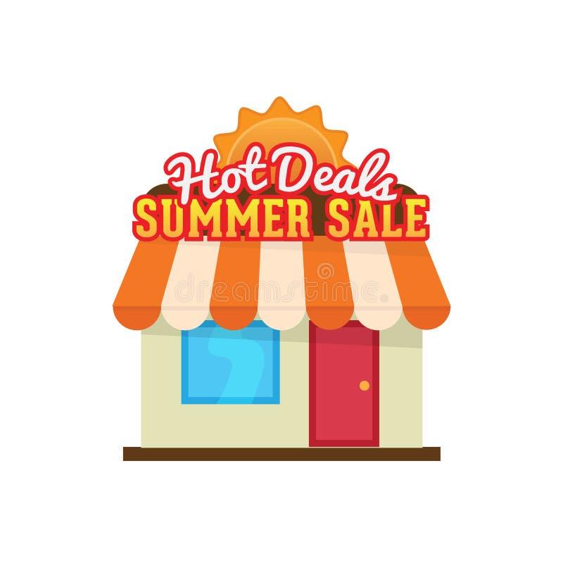 Illustration chaude de vecteur de vente d'été d'affaires conception saisonnière d'icône de magasin illustration stock