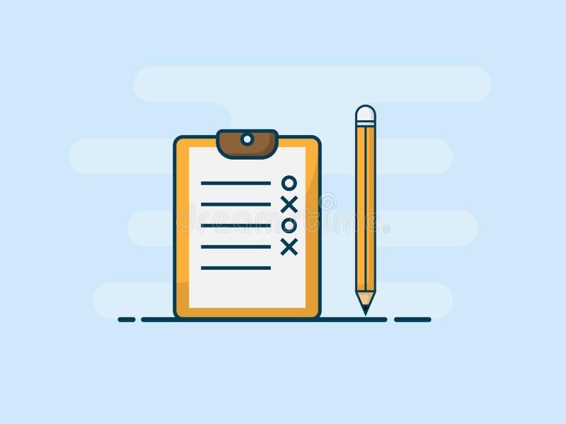 Illustration of checklist with pencil flat design vector vector illustration